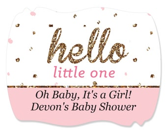 16 Hello Little One - Pink & Gold -  Squiggle Stickers - Custom Do It Yourself Girl Baby Shower Party Supplies