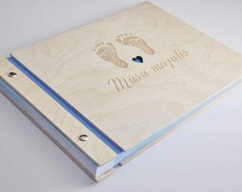 wood baby book diary memory book  / baby journal