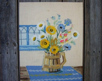 VINTAGE SWEDISH EMBROIDERY / Wall hanging / Hand made / Vintage / Scandinavian / 60s / 70s / Embroidery / Stitches / Flowers / Summer