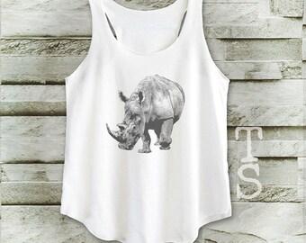 Rhino shirt animal tshirt women shirt women tank top sleeveless size S M
