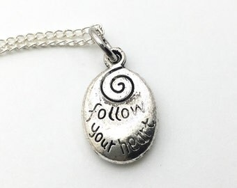 Follow Your Heart Necklace - Antique Silver Jewelry - NEW