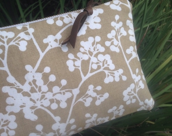 Wattle Cotton and Leather Clutch