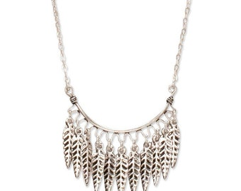 Feather Fringe Necklace | Silver