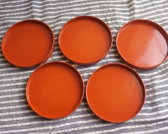 Japanese Sweets Wooden Lacquer Serving Trays, 1940s, set of 5