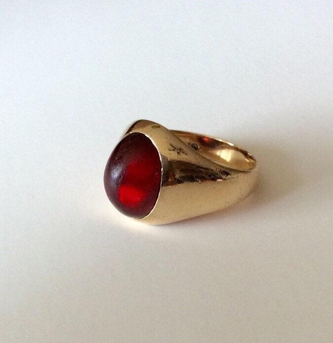 Vintage 14 K Gold Band Garnet Cabochon Ring Men S Or