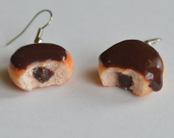 Chocolate donuts polymer clay earrings