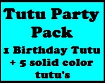 Tutu Party Pack - 6 Tutu's, Ballerina Tutu Party Favors, Tutu Party Favors