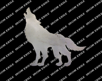 Wolf Holwing Silhouette Metal Art Wall Sign Hunting Cabin Lodge Decor Gift Idea