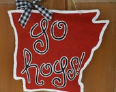 """University of Arkansas Razorbacks """"Go Hogs"""" Burlap Door Hanger"""