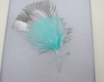 Blue and Silver Feather Boutonniere