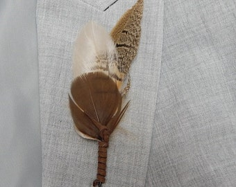 Rustic Feather and Leather Boutonniere