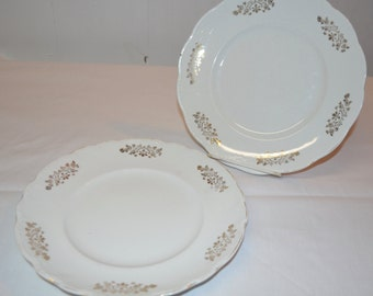 "Homer Laughlin Hudson & The Angelus Pattern 9"" Dinner Plates - SET of 2 - Turn of the Century - Early 1900s Vintage Plates - Gold Trim"