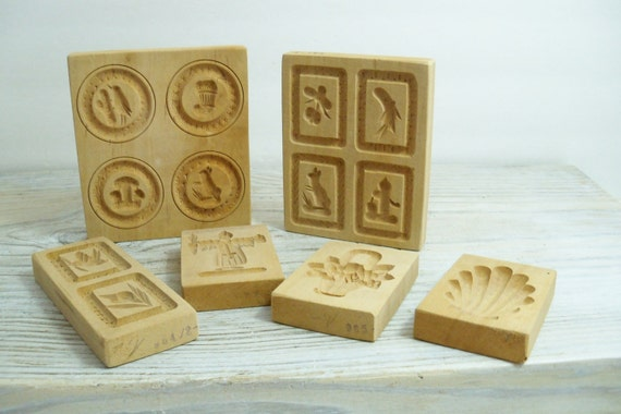 Vintage Wooden Butter Molds Hand Carved Candy Molds Butter Press Flowers Scarecrow Sea Shell Birds Etc 1950s 6 Pieces