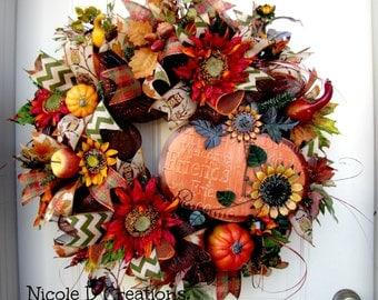 Fall Wreath, Thanksgiving Wreath, Deco Mesh Wreath, Front Door Wreath