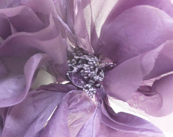 Extra Large Handmade Silk Poppy // Millinery Trimmings // Fabric Flower // Purple