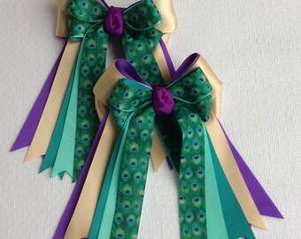 Equestrian Bows  Horse Shows/Purple Teal Green Peacock Print