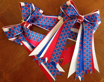 Horse Show Hair Bows/Leadline/Short Stirrup/Pony Hunters/Red White & Blue/Patriotic