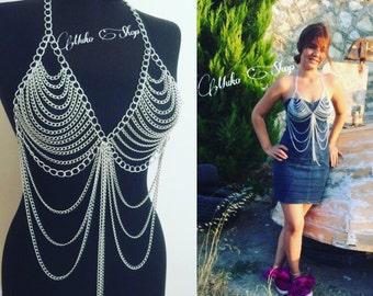 silver body chain , body necklace, body jewelry, chain bra, body chain, festival jewelry,a*102