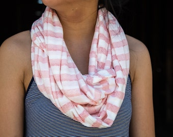 Blush Lace and White Striped Infinity Scarf