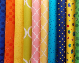 Assorted Brights Fabric 30 Piece Charm Pack 5 Inch Fabric Squares No duplicates High Quality Cotton