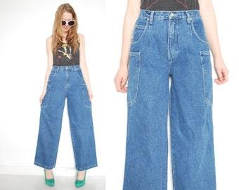 vintage 90s jeans denim wide leg high waisted waist raver jeans pants clothing S M