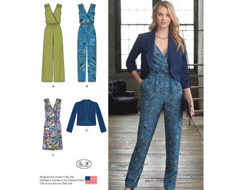 Simplicity Sewing Pattern 8178 Misses' Jumpsuit with Slim or Wide Legs, Dress and Jacket