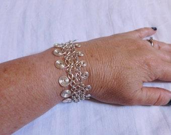 silver wire wrapped bracelet