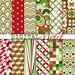 Retro Christmas Digital Paper Pack, Instant Download, Printable Scrapbook Paper, Red & Green Digital Paper, 300 PPI