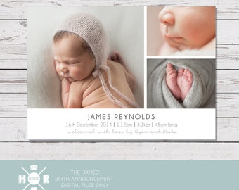 Printable - The 'James' Birth Announcement | Baby Birth | Thank You | Classic