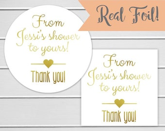 Foiled Bridal Shower Favor Stickers, From my shower to yours Sticker, Color Foil Bridal Shower Stickers (#067-F)