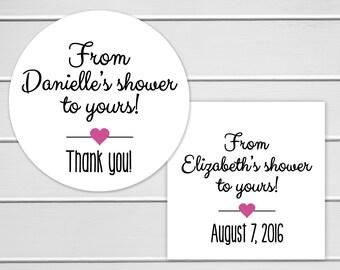 Shower Stickers, Bridal Shower Favor Stickers, Baby Shower Favor Stickers, Shower Favor Labels (#067)