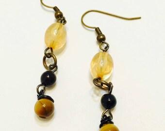 Amber Black & Tiger's Eye Dangle Earrings