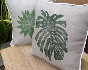 Grey Monstera Cushion