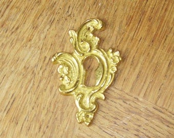 Vintage French Brass Keyhole Escutcheon Hardware