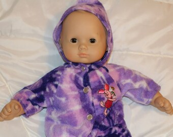 "Bitty Baby size handcrafted tie-dye fleece bunting.  Fits Bitty Baby and other 15-16""dolls"
