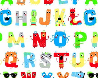 45'' Henry Glass & Co. Zoo Mates Flannel Multi Alphabet Faces by the Yard