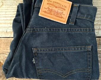 "Vintage Black Levis Button Fly- Thick Leather Patch- Medium - Waist 30"""