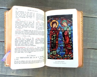 Antique French Leather cover missal book. Vesperal Missal  .Catholic missal.1960. Prayer book.