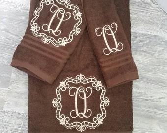 Wedding towel. Monogram towel.