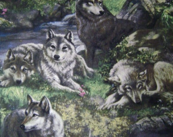 Wolves Lazy Afternoon Cotton Fabric Sold by the Yard