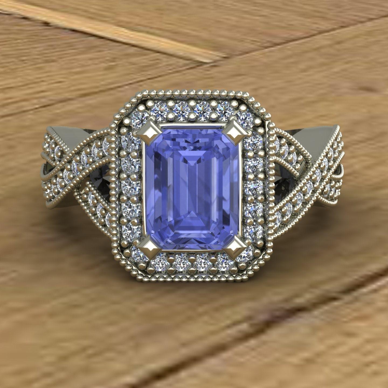 tanzanite engagement ring emerald cut halo