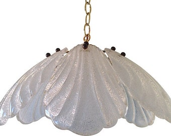 1960s Glass Lotus Pendant Light