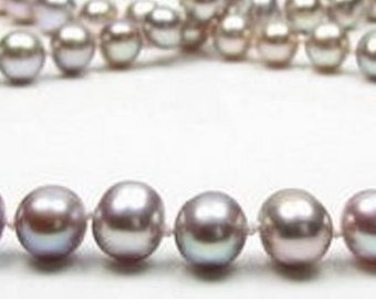 "18"" CLASSIC Single Strand AA Quality Round Genuine 7-8mm Lavender Pearl Necklace"