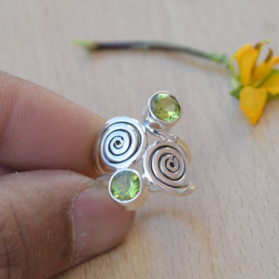 Natural Peridot Gemstone Ring- Solid 925 Sterling Silver Ring Size 6 -August Birthstone Jewelry -Unique Designer Peridot Ring Size 6