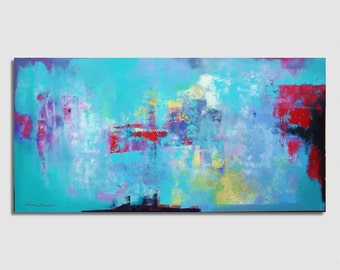 CUSTOM  Abstract painting Green, blue, red, Large size 97x195cm (38x77 inches) Original Abstract Painting, Modern