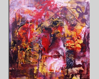 Abstract painting Large Size abstract painting Original Painting Contemporary 100X100 / 39,4x49,4 Large Size Red Square