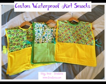 Custom Waterproof Art Smock, Waterproof Art Apron, Toddler Art Smock, Toddler Art Apron, Vinyl Art Smock, PUL Smock, Child Art Smock