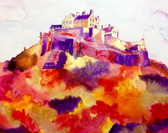 Original watercolour painting of Edinburgh Castle