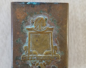 Vintage Copper Matchbox Cover with Egyptian Motif