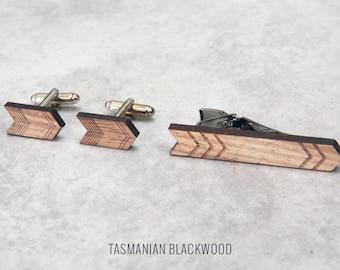 Arrow Cufflinks & Tie Clip set, gifts for dad, boyfriend gift